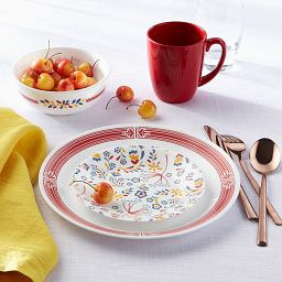 Prairie Garden Red 16-pc Dinnerware Set with food on table