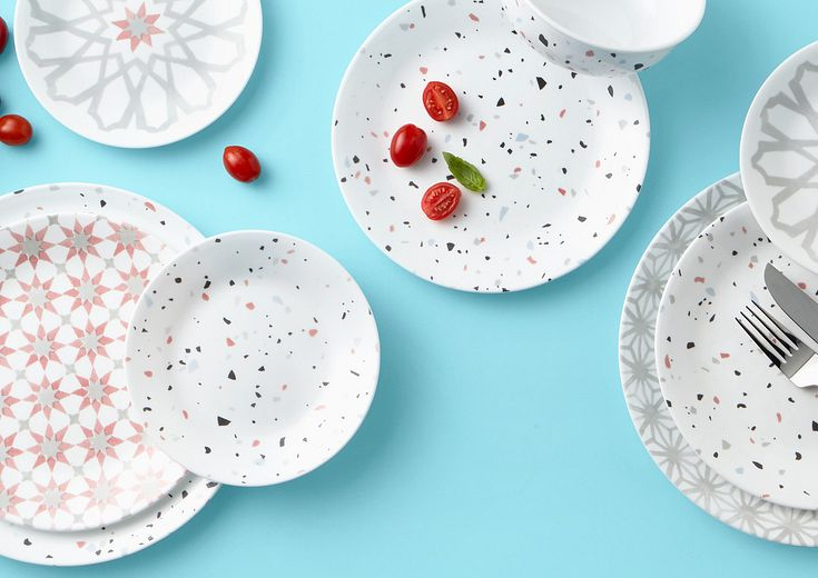 Terrazzo and Amalfi Verde shown as mix and matching dinnerware