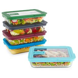 No Leak Lid™ 10-piece Glass Food Storage Set stacked with food inside