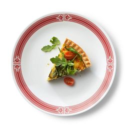 "Signature Prairie Garden Red 10.25"" Dinner Plate with food"