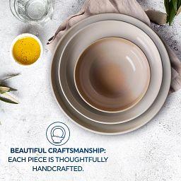 Stoneware 12-piece Dinnerware Set, Service for 4, Nordic Blue