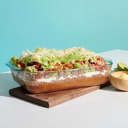 Pyrex Deep Dish Baking Dish with Taco Salad Inside
