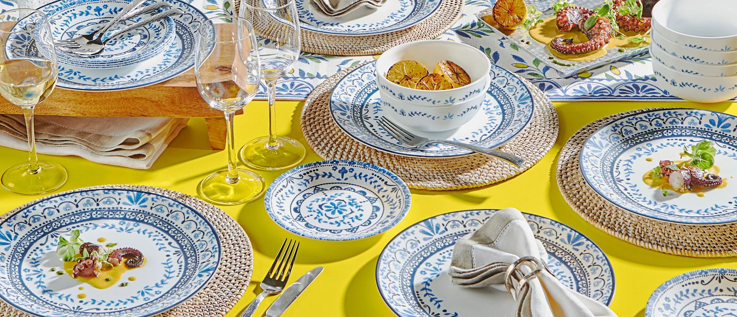 Portofino dinnerware set on table