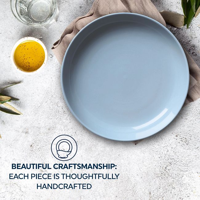 """Stoneware 8.45"""" Meal Bowls, Nordic Blue, 4-pack"""