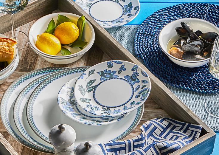 corelle dinnerware set on tabletop