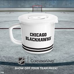 """NHL® Chicago Blackhawks® 20-oz Meal Mug™, Tommy Hawk™ with text """"show off your team pride"""""""