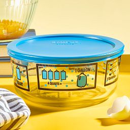Kitchen Conversions 7-cup Food Storage Container with Blue Lid on the table