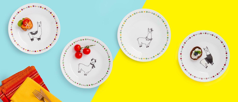 Holiday dressed Llama Corelle Appetizer plates