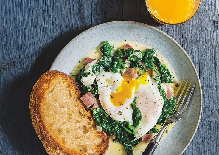 Baked Eggs with Creamy Spinach & Ham