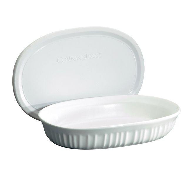 French White 23-ounce Oval Baking Dish with Lid