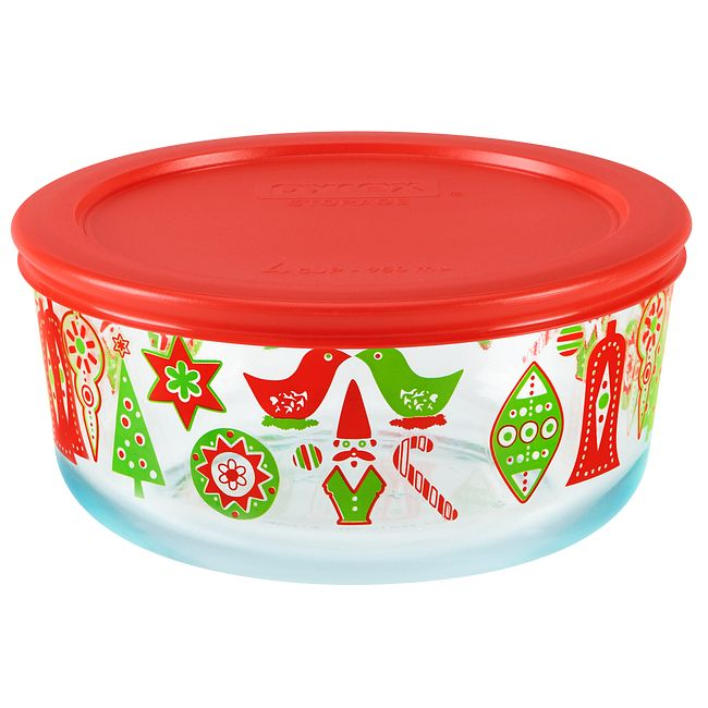 Simply Store 4 Cup Ornaments Storage Dish w/ Red Lid