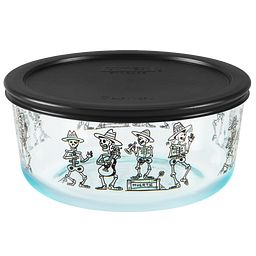7 Cup Day of the Dead Mariachi Storage Dish w/ Lid On