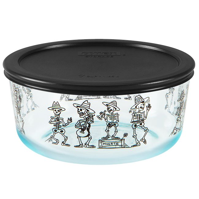 Day of the Dead 7-cup Glass Food Storage Container with Black Lid