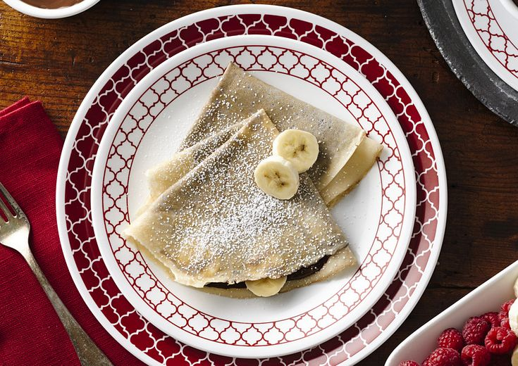 Crepes on Crimson Trellis Dinnerware with Banana Garnish