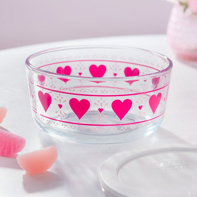 Simply Store 4 Cup Smitten Hearts Storage Dish w/ White Lid