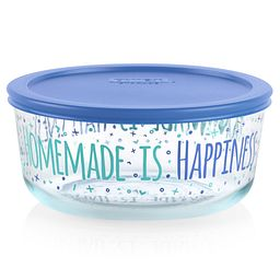 Happiness 7-cup Glass Food Storage Container with Blue Lid