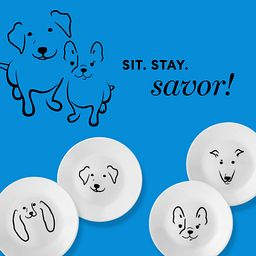 Sit. Stay. Savor! 4 dog plate styles