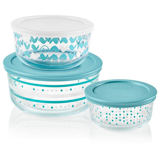 Doodles 6-piece Glass Food Storage Container Set with Lids
