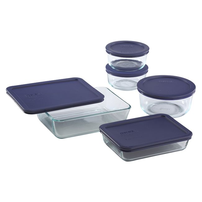 10-piece Glass Food Storage Container Set with Blue Lids