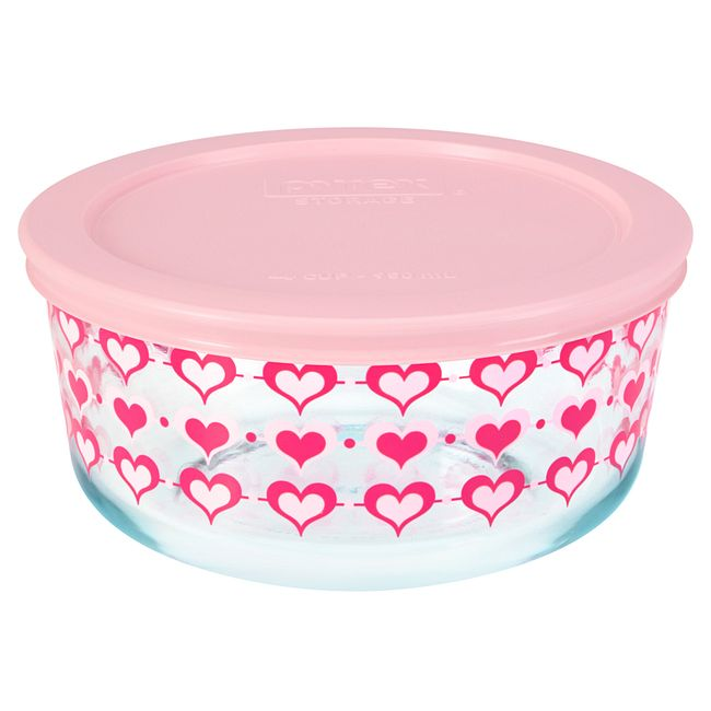 Hearts 4-cup Glass Food Storage Container with Pink Lid