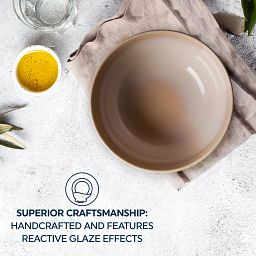 Text that says:Superior craftmanship: handcrafted and features reactive glaze effects