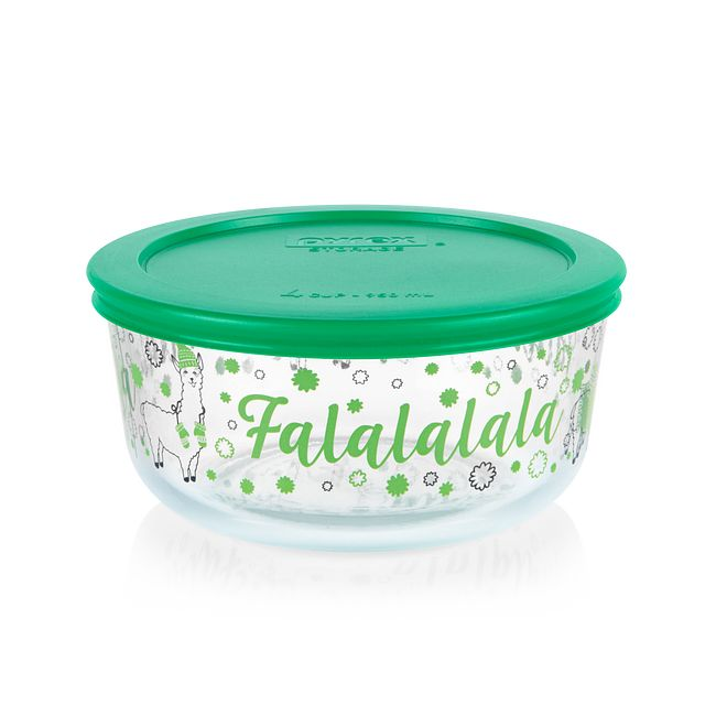 Falalala Llama 4-cup Glass Food Storage Container with Green Lid