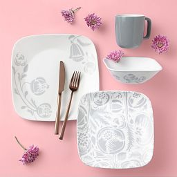 Night Blooms Gray 16-piece Dinnerware Set, Service for 4 on the table