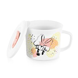 Minnie Mouse 20-ounce Meal Mug™ with Vented Lid propped next to the mug