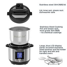 Instant Pot® Ultra™ Mini 3-quart Multi-Use Pressure Cooker showing lid, cooking pot and accessories