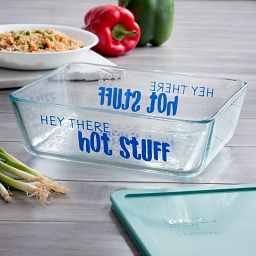 Hey There Hot Stuff 11-cup Glass Food Storage Container with Jade Green Lid on the Table