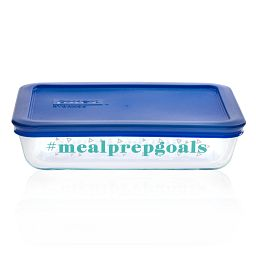 Meal Prep Goals 3-cup Glass Food Storage Container with Blue Lid
