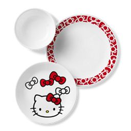 Hello Kitty 12-piece Dinnerware Set photo shows top view of dinner plate, salad plate and soup/cereal bowl
