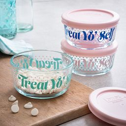 Treat Yo Self 6-Piece Glass Food Storage Container Set with Pink Lids with food