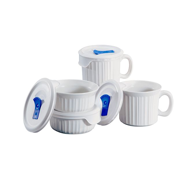 French White 8-piece Meal Mug and Casserole Set