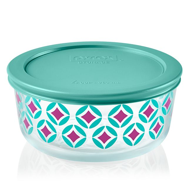 Diamonds 4-cup Glass Food Storage Container with Aqua Lid