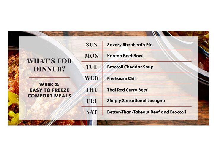 Easy to Freeze Comfort Meals weekly menu