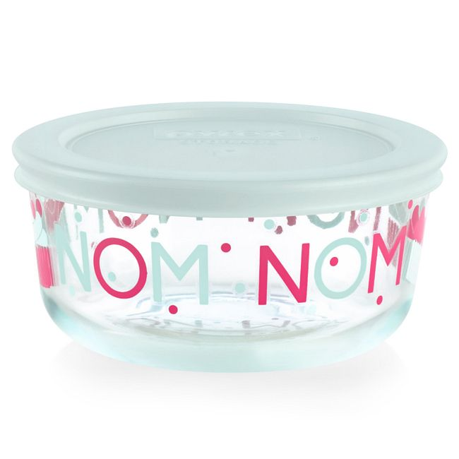 Nom 2-cup Glass Food Storage Container with Light Blue Lid