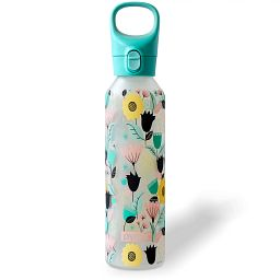 Florals Bold 17.5-ounce Glass Water Bottle with Silicone Coating
