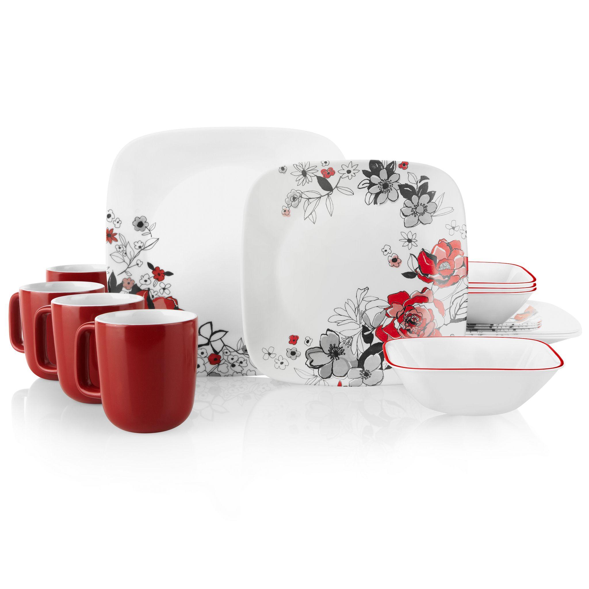 Chelsea Rose 16 Piece Dinnerware Set Service For 4 Corelle