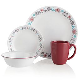 Nordic Bloom 16-piece Set - photo shows Dinner Plate, Appetizer Plate, Bowl and Mug