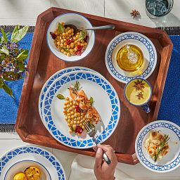 Cobalt Circles Dinnerware Set - food being served on a wooden tray