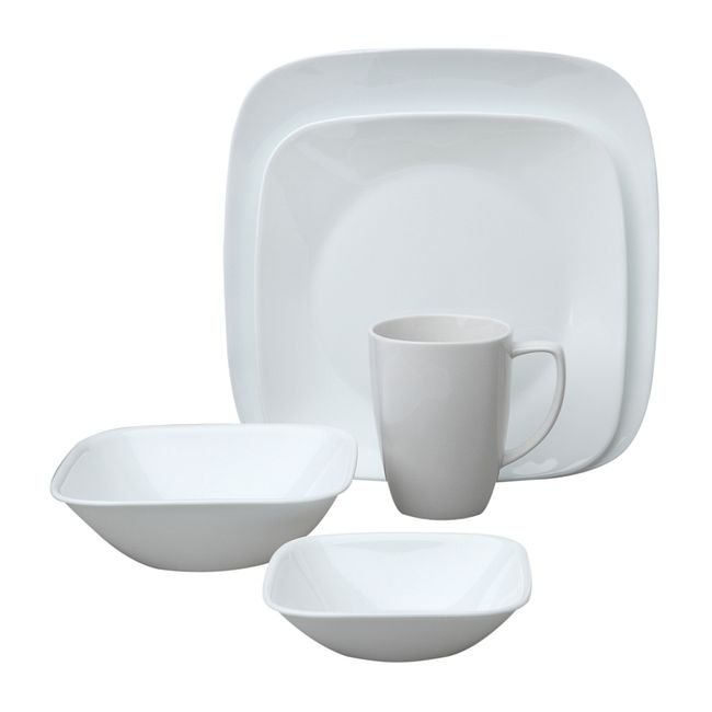 Square Pure White 20-pc Dinnerware Set w/ Bonus Bowls