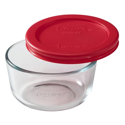 Pyrex Simply Store 1 Cup Round Storage Dish W/ Red Lid