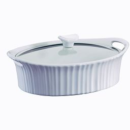 French White® 2.5-qt Oval Casserole w/ Glass Lid