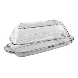 Anchor Hocking Covered Glass Butter Dish side view
