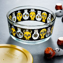 EXCLUSIVE LIMITED EDITION Simply Store® 4 Cup Party Bones Round Storage Dish with Yellow Lid on the table