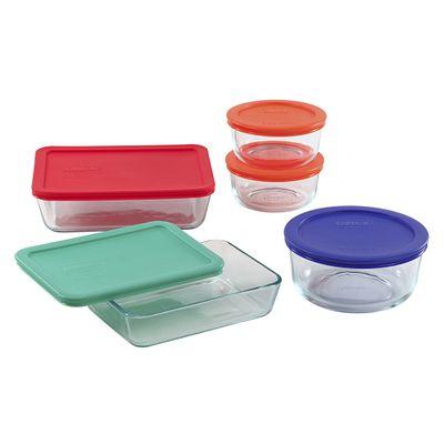 Pyrex Simply Store 10-Pc Set W/ Multi-Colored Lids