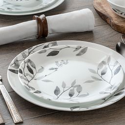 Misty Leaves 12-pc Dinnerware Set on the table