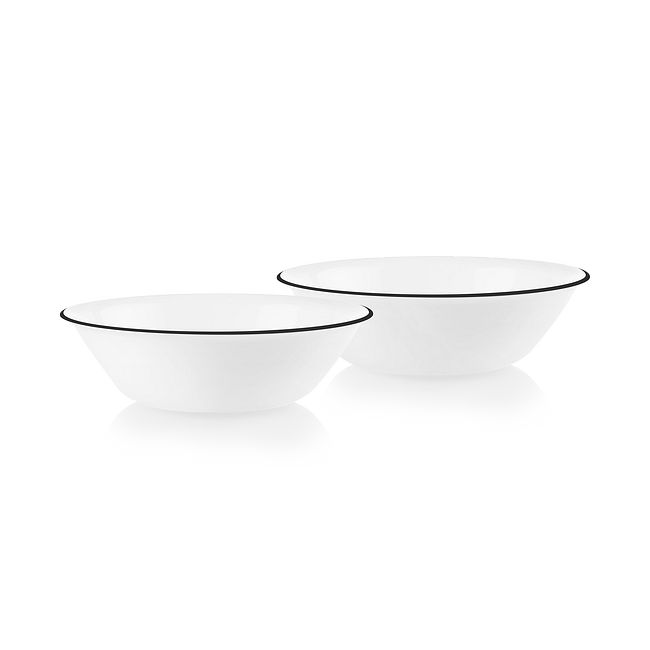 Bold Black Banded 1-quart Serving Bowls, 2-pack