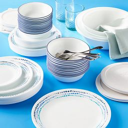 Ocean Blues 78-piece Dinnerware Set on the table
